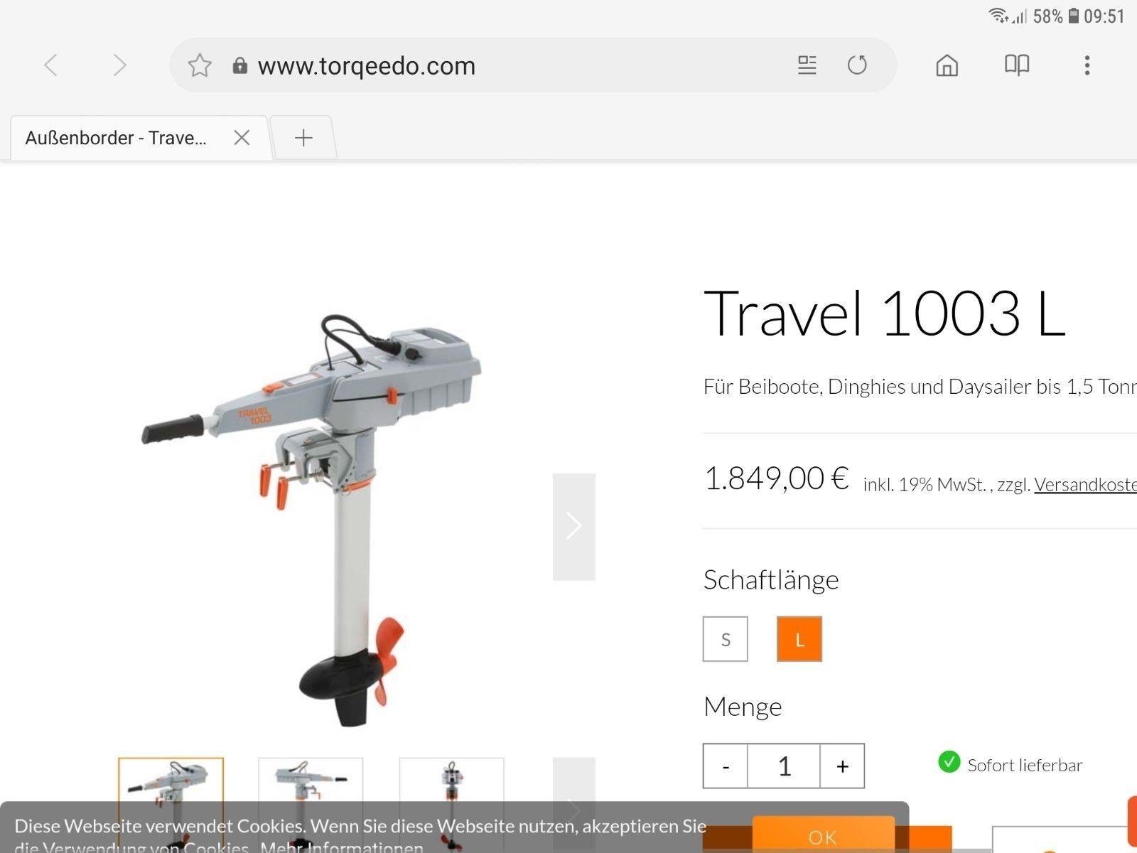 Torqeedo - Travel Außenbord 1003 L Außenbord Travel 3e40ec