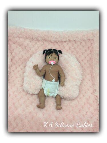 Full Body Mini silicone baby Girl Jasmine with hair .