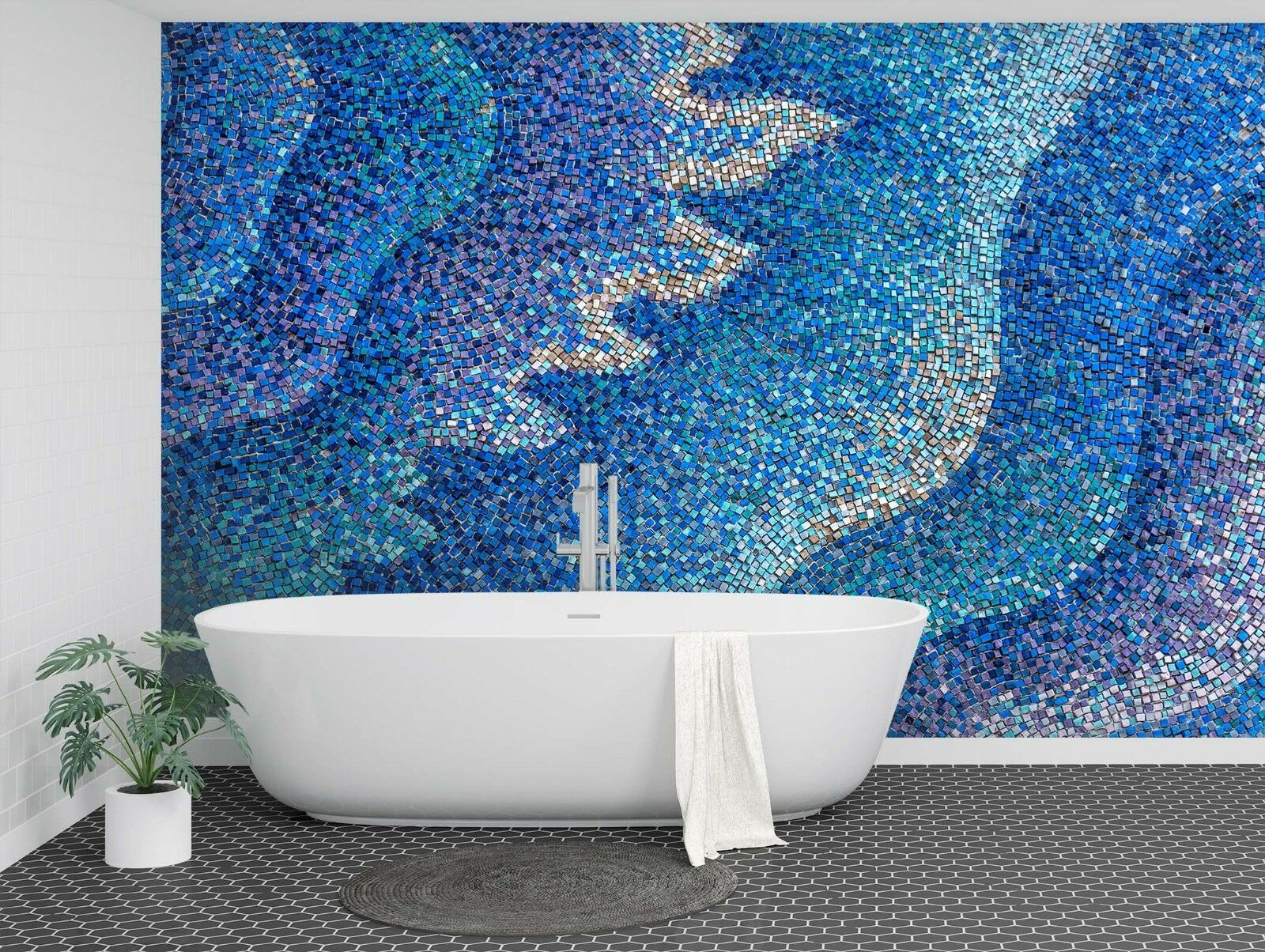 3D bluee Wave 675 Texture Tiles Marble Wall Paper Decal Wallpaper Mural AJ