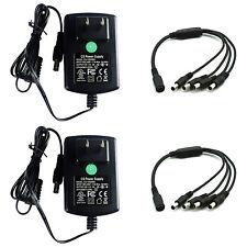 2-pack DC 12V 2A Power Supply Adapter + 4 Split Cable F. CCTV Camera DVR UL FCC