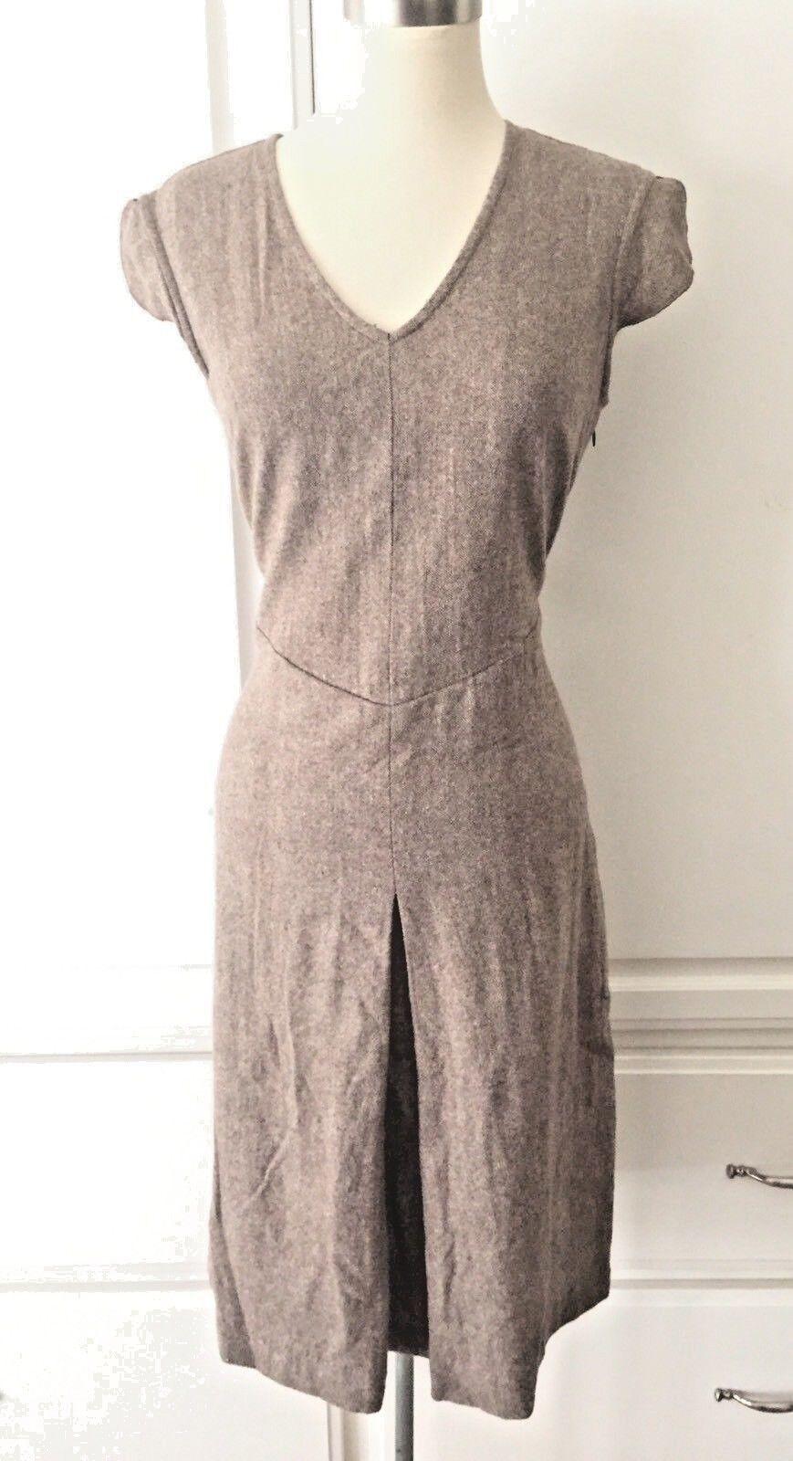 FREE PEOPLE Anthropologie 7 Brown Wool Blend Tweed School Girl Dress Midi