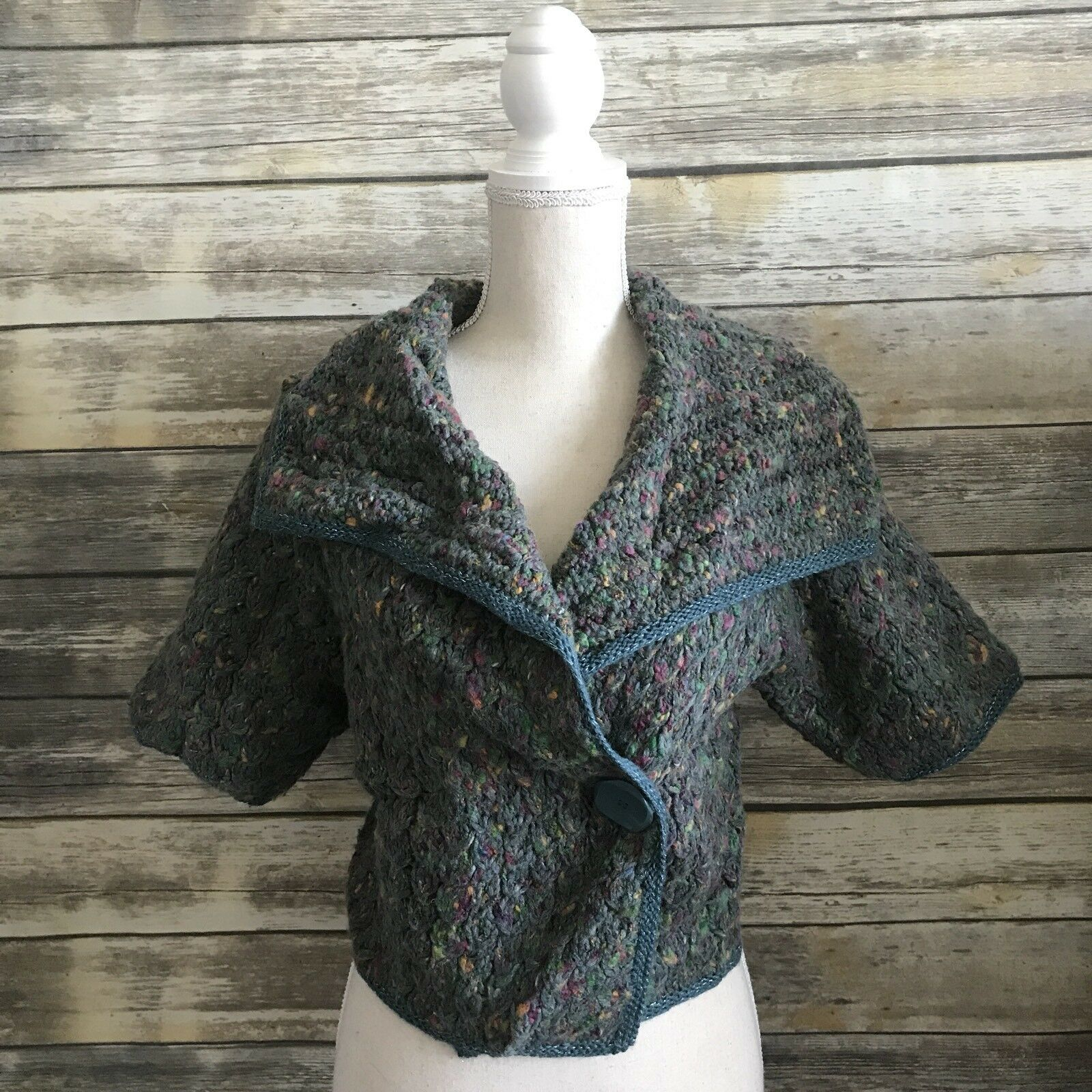 Anthropologie Sleeping on Snow Women's Green Cropped Knit Cardigan - Size M