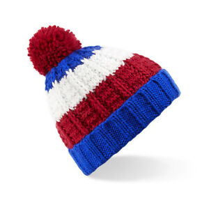 9c7193a8 Details about Glasgow Rangers FC Bobble Hats, Red White Blue Beanie Hats  Chunky Knit Ltd Stock