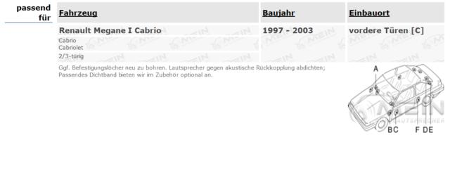 KENWOOD LAUTSPRECHER für RENAULT MEGANE I Cabrio 1997-2003 Front Vorn 300W #J72