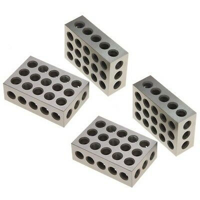 """2 Pair (4) 1-2-3 Block Set 0.0001"""" Precision Matched Mill Machinist 123 23 Holes"""