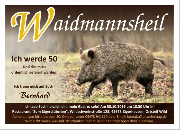 Einladungskarten Geburtstag Jagd Jäger Prüfung Originell Wunschtext 40. 50. 60.
