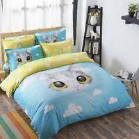 Single Queen King Bed Linen Pillowcase Quilt/duvet Cover Blue Cute Cat Tkb