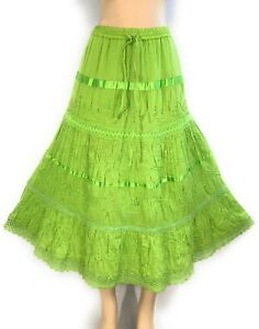 Womens-Cotton-Boho-Lace-Trim-Embroidered-Sequins-Tiered-Peasant-Sweep-Skirt-NWT