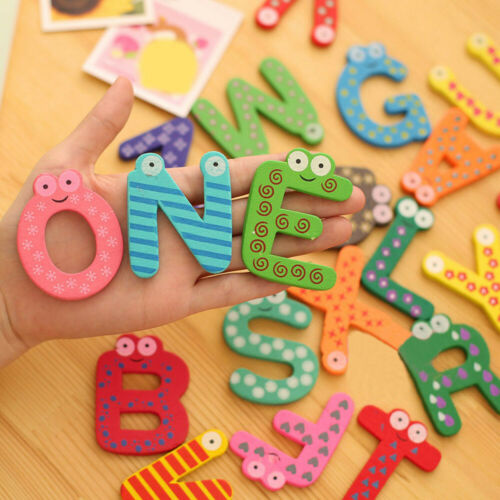 26pcs Letters Wooden Cartoon Fridge Magnet kid Baby Educational Toy For Kids
