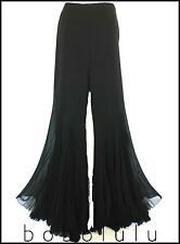 LUISA SPAGNOLI BLACK SILK COCKTAIL TROUSERS PANTS FLARED FLAMBOYANT QUIRKY 14 uk