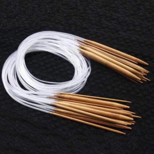 Point Carbonized Circular Bamboo Knitting Needles 40cm-120cm 18Sizes Double