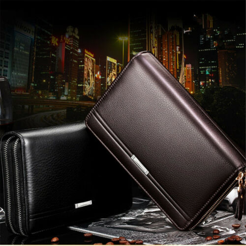 Zip Men/'s Long Leather Wallet  Men Purse Business Bifold Card Phone Clutch