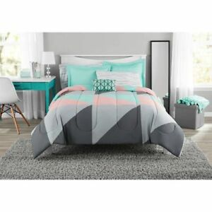 Mainstays Gray And Teal Queen Size Bed In A Bag Comforter Set