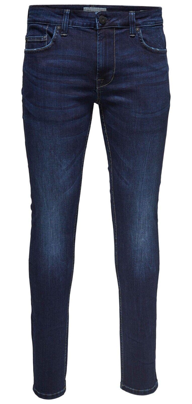 Söhne Jeans Herren Kette Skinny Fit Schmal Leg Denim-Hose Dunkelblau Verblichen  | Tadellos  | Wir haben von unseren Kunden Lob erhalten.  | Neue Sorten werden eingeführt
