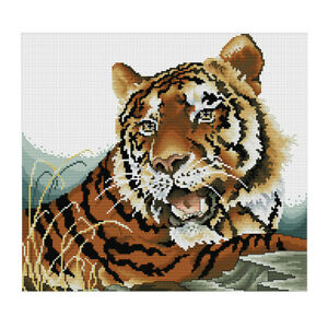 Stamped-amp-Counted-Cross-Stitch-Kit-Embroidery-Craft-Tiger-Pattern-47x44cm