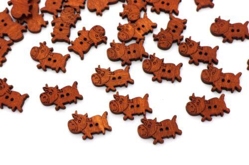Cow Wooden Button Brown Sew Through Animal Farm Wood Baby Children 23mm 20pcs