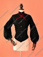 Black Victorian Gothic Women Blouse Shirt Steampunk Reenactment Clothing B314