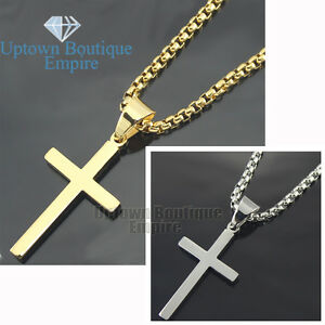 20 30 men stainless steel gold silver plain cross pendant box image is loading 20 30 034 men stainless steel gold silver aloadofball Image collections