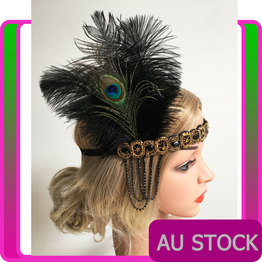 20s Peacock Gatsby Headpiece Flapper 1920s Feather Costume Gatsby Party Headband