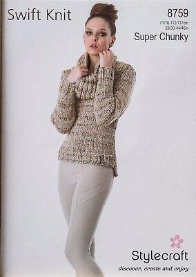 LADIES SWEATER Stylecraft Knitting Pattern Swift Knit Chunky Yarn 8662