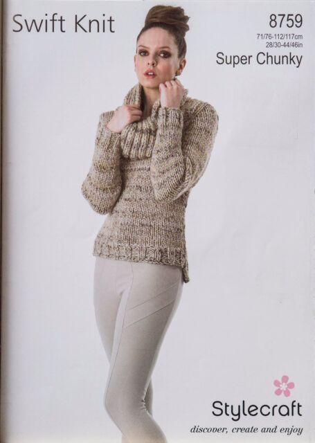 a93b4cc9ac32a4 Stylecraft Knitting Pattern 8759 Ladies Sweater Snood Swift Knit Super  Chunky