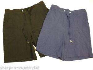 Ladies-Navy-Blue-or-Black-Casual-High-Waisted-Crinkle-Shorts-UK-10-EU-38