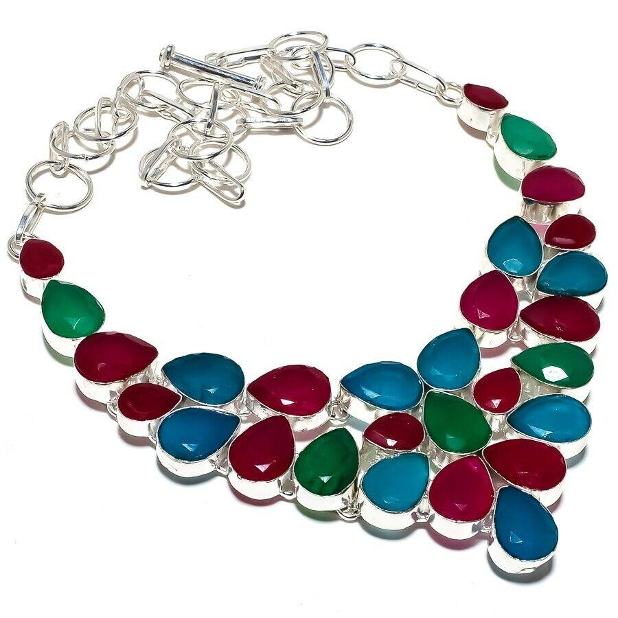 Emerald, Ruby Gemstone Handmade Silver Jewelry Necklace 18