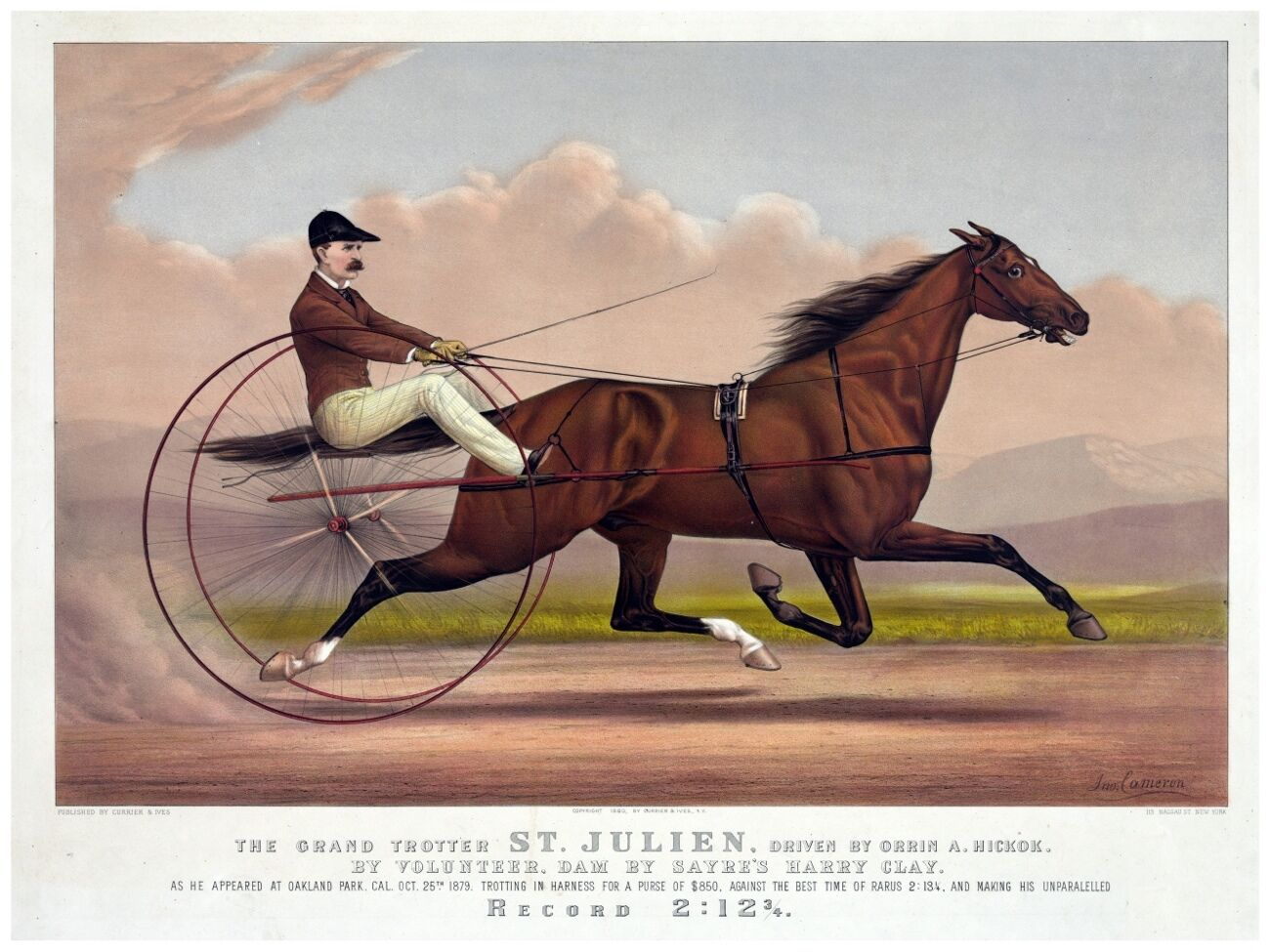 4446.The grand trotter.St Julien.man racing horse.POSTER cor Home Home Home Office art b82980