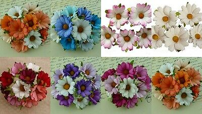 PACK 5  BEAUTIFUL 45MM CHRYSANTHEMUMS FOR CARDS AND CRAFTS 7 COLOURS TO CHOOSE