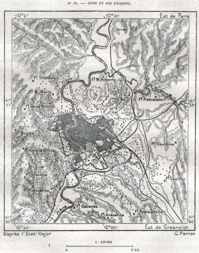 Latium 1887 Stampa Antica Lazio Piccola Carta Topografica di Roma e Dintorni