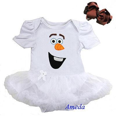 Baby Olaf Snowman White Bodysuit Pettiskirt Romper Tutu Headband Party Dress