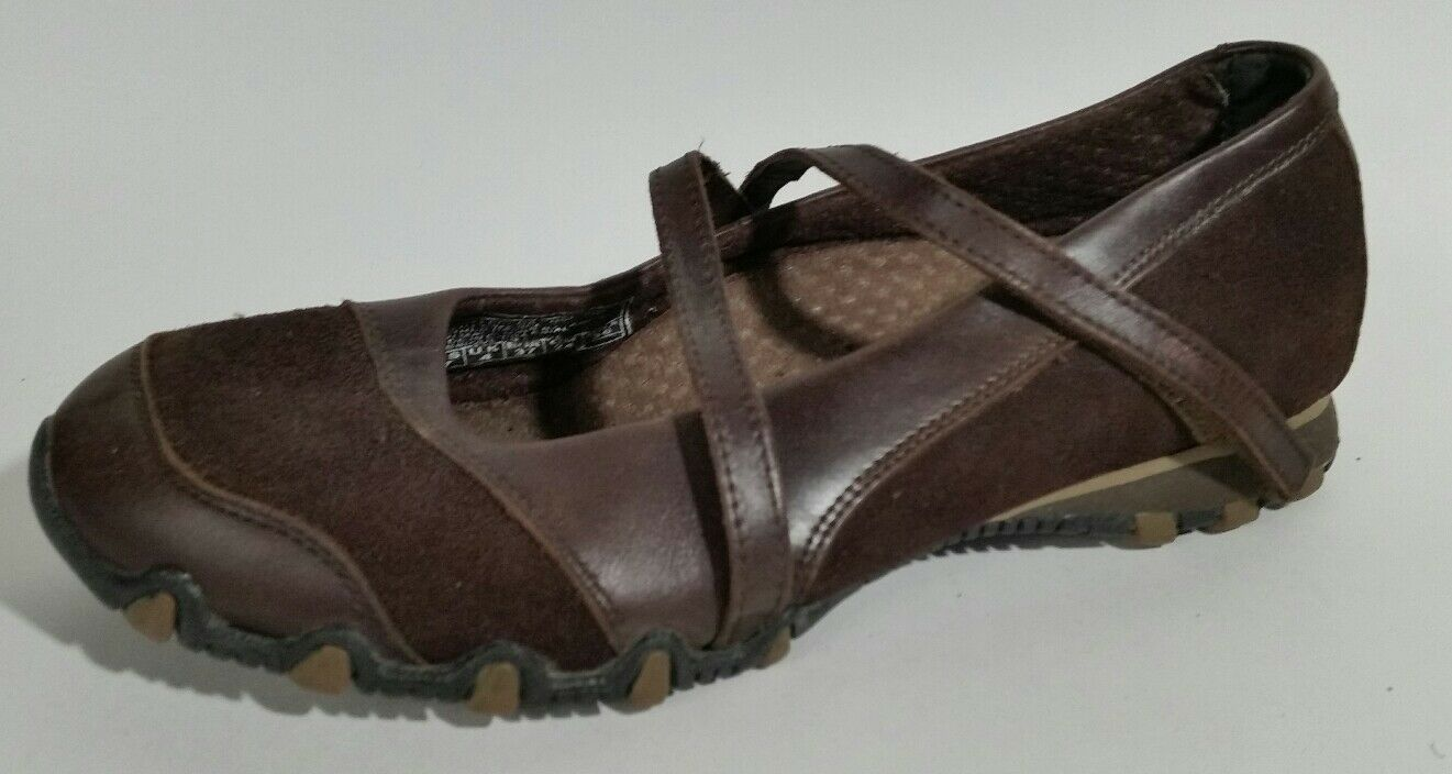 Skechers Womens Leather Mary Jane Shoes Womens Skechers 7 M Brown Ballet Flats Bikers 21571 Flex 6e1b5c