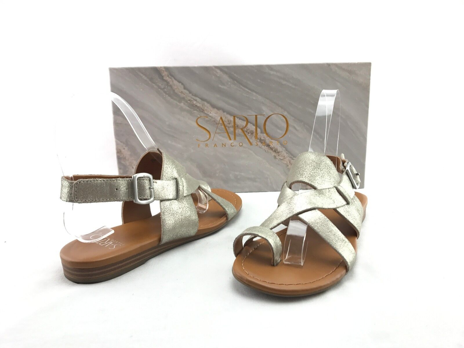 Franco Sarto Gia Women's Silver Strap Leather Sandals US Size 4.5 M shoes  A283
