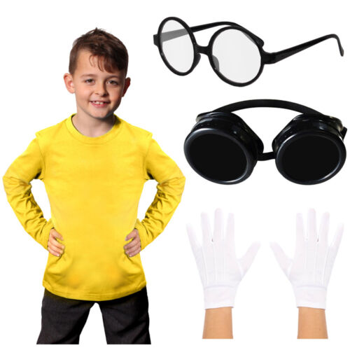 YELLOW WORKER COSTUME SET MINION FUNNY CHILDS ADULTS CARTOON MOVIE FANCY DRESS
