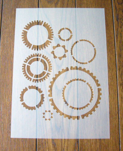 Cogs Gears Steampunk Stencil Mask Reusable PP Sheet for Arts & Crafts