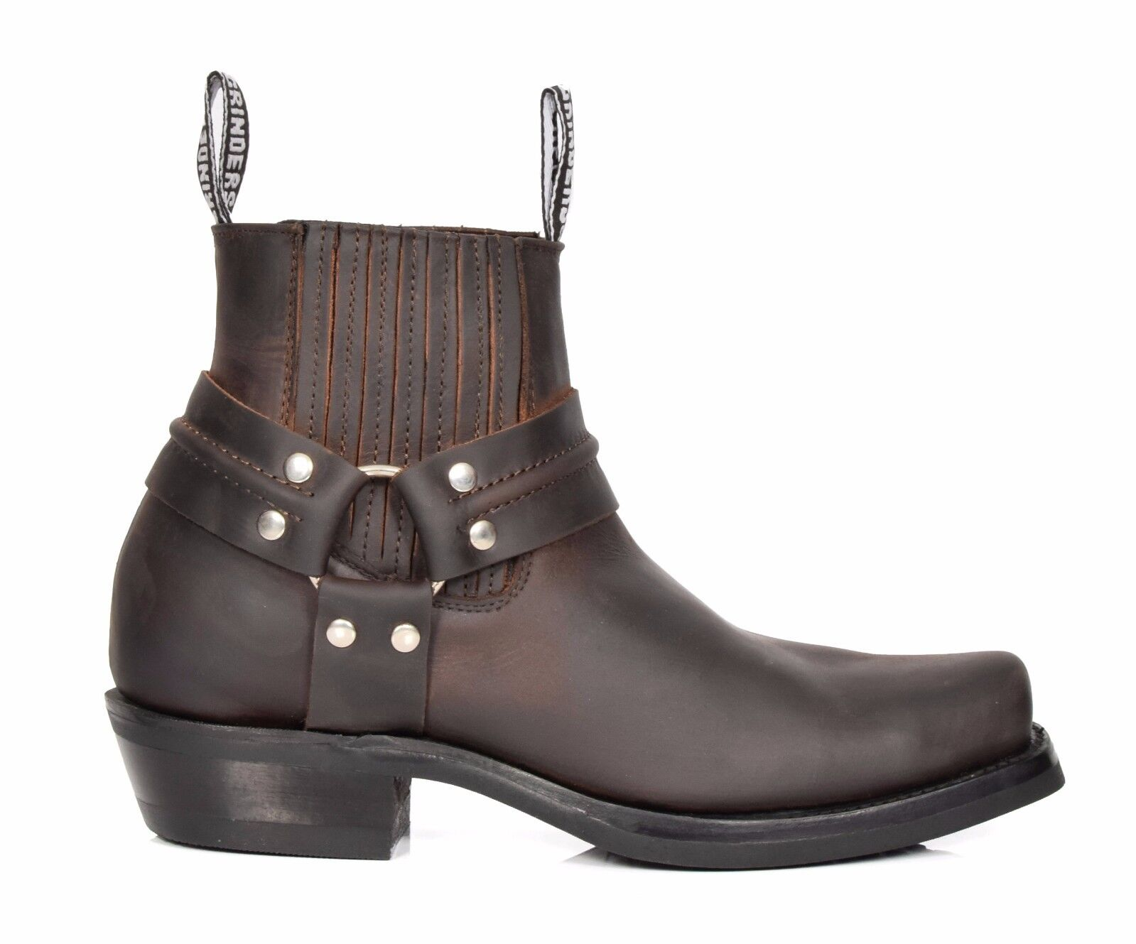 Real Leather Leather Leather Chelsea Stiefel Cowboy Biker Style Slip On Square Toe schuhe braun 4abee3