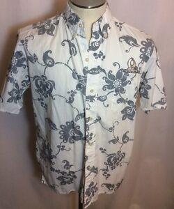 REYN-SPOONER-Hawaiian-Shirt-NFL-Pro-Bowl-Reverse-Print-Creme-Gray-Medium-EUC
