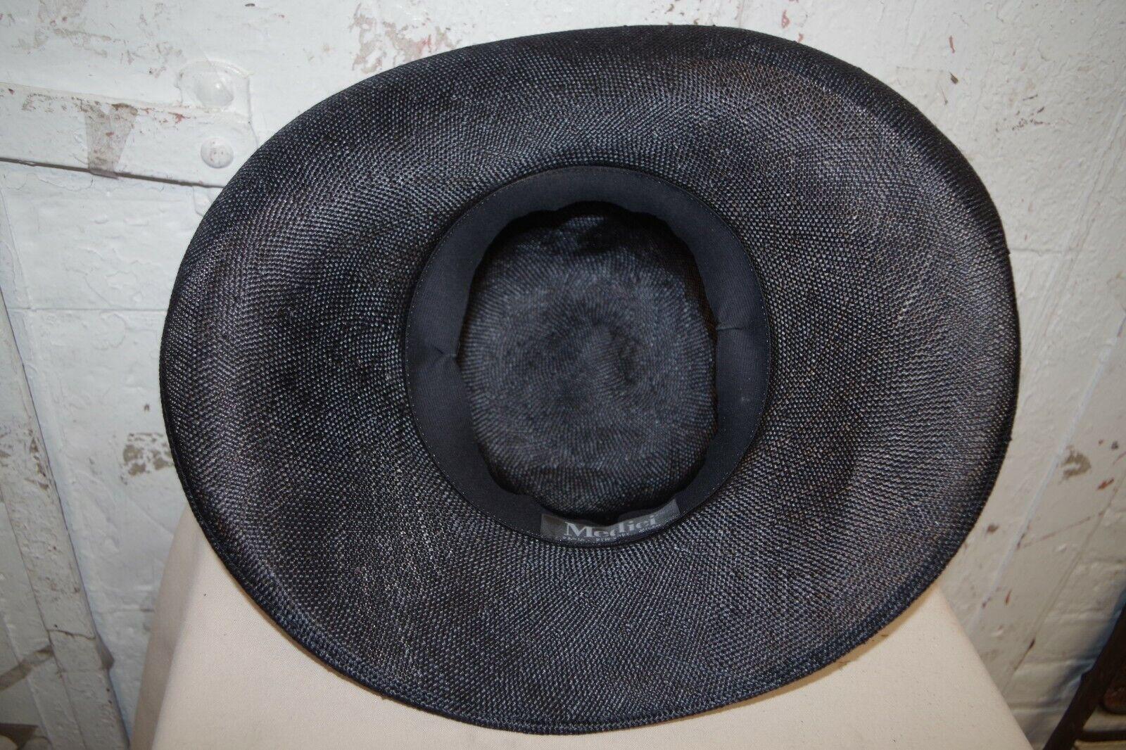 MEDICI WIDE BRIM STRAW HAT WIDE BRIM BLACK & TAN … - image 8