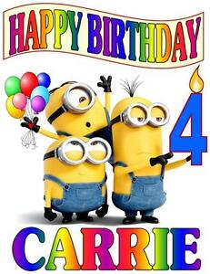 Image Is Loading MINIONS HAPPY BIRTHDAY T SHIRT PERSONALIZED Any Name