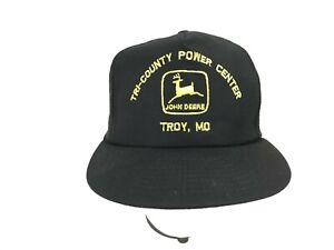 Vtg Deadstock JOHN DEERE Black Mesh SNAPBACK Trucker Hat USA Troy, MO Louisville