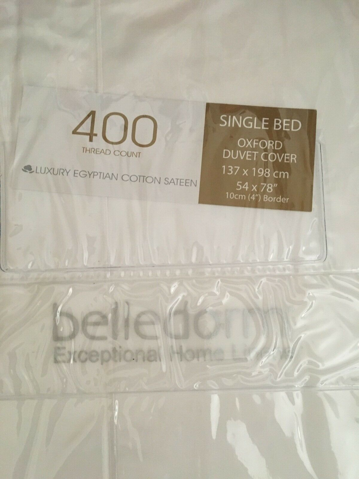 A BELLEDORM LUXURY COTTON SATEEN SINGLE BED OXFORD DUVET COVER BNIP