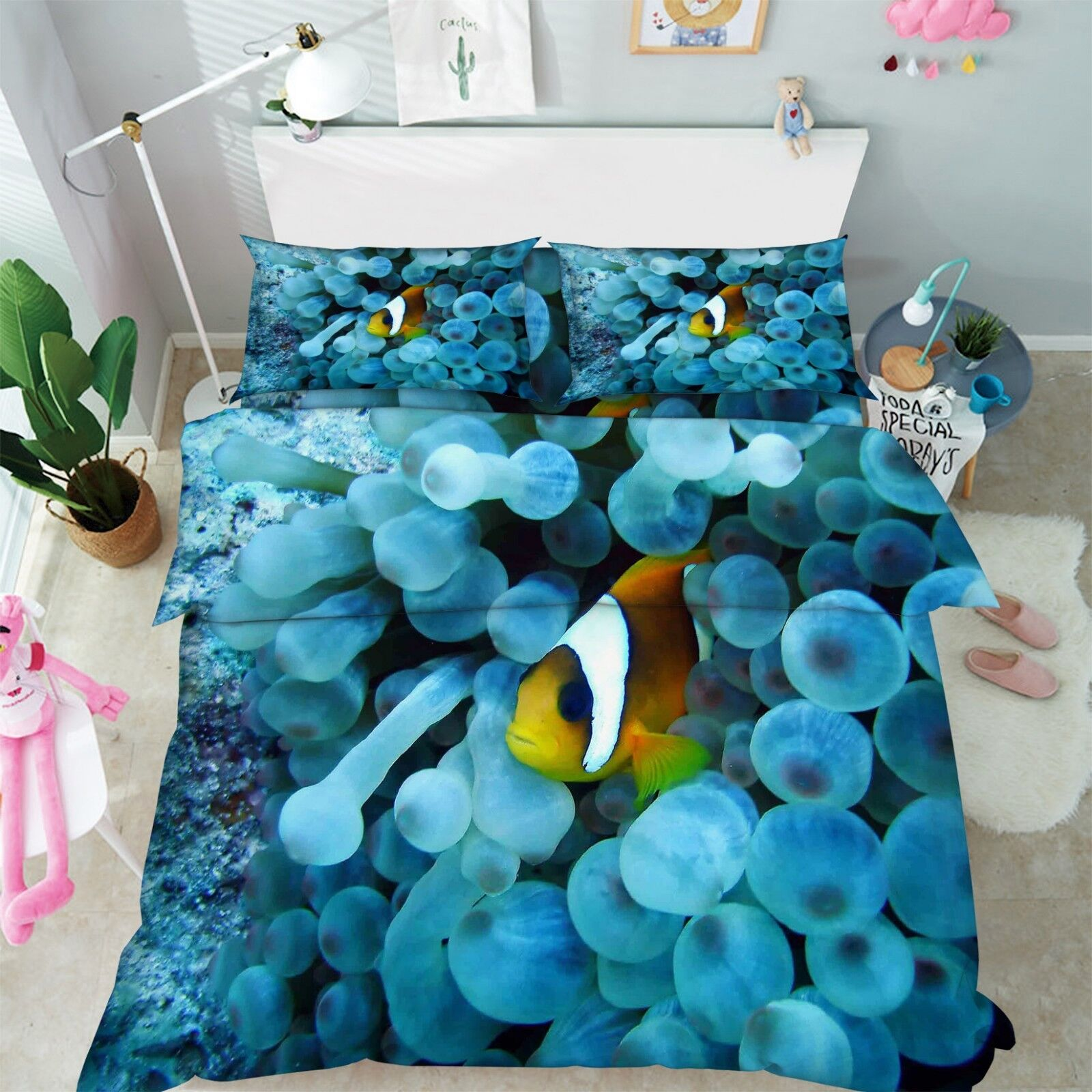 3D Jellyfish 56 Bed Pillowcases Quilt Duvet Cover Set Single Queen King UK Lemon
