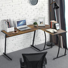 Corner Computer Desk Wood Writing Study Table Pc Laptop Workstation Home Office