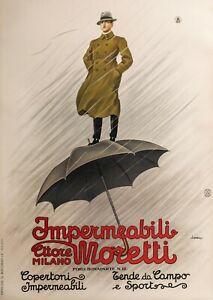 Original-Poster-L-Metlicovitz-Impermeabili-Moretti-Fashion-Milano-1920