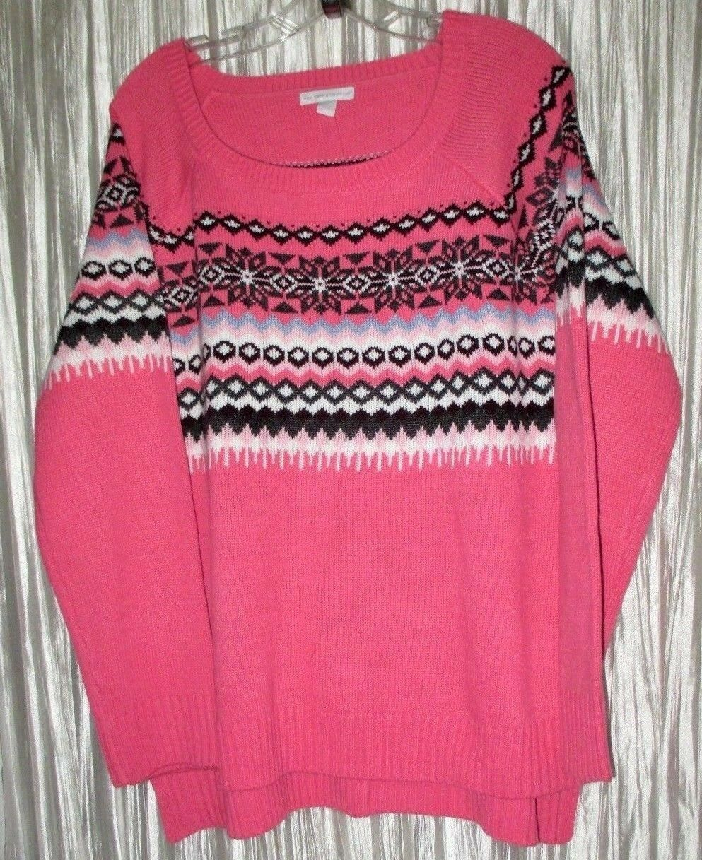 New Pretty NY & CO Pink Multi color, Lg Sleeve,Lt Weight, Knit Sweater,Large
