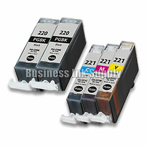 5-PACK-PGI-220-CLI-221-Canon-PGI-220-BK-CLI-221-C-M-Y-Ink-Cartridge-NEW-CHIP