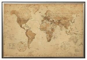 World map antique style poster print in premium gold wood frame image is loading world map antique style poster print in premium gumiabroncs Image collections