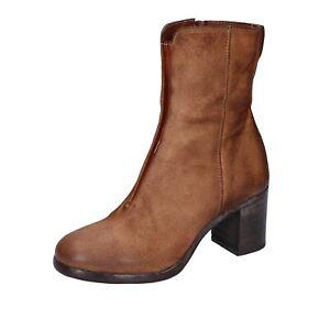 scarpe donna MOMA stivaletti marrone camoscio BK457