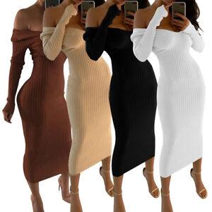 925c7f3d01a Image is loading Sexy-Womens-Midi-Dress-Ladies-Knitting-Long-Sleeve-