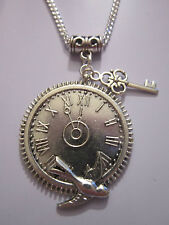 Antiqued SILVER KEY Clock Orologio Pendente Ciondolo Collana Steampunk / VINTAGE / regalo.